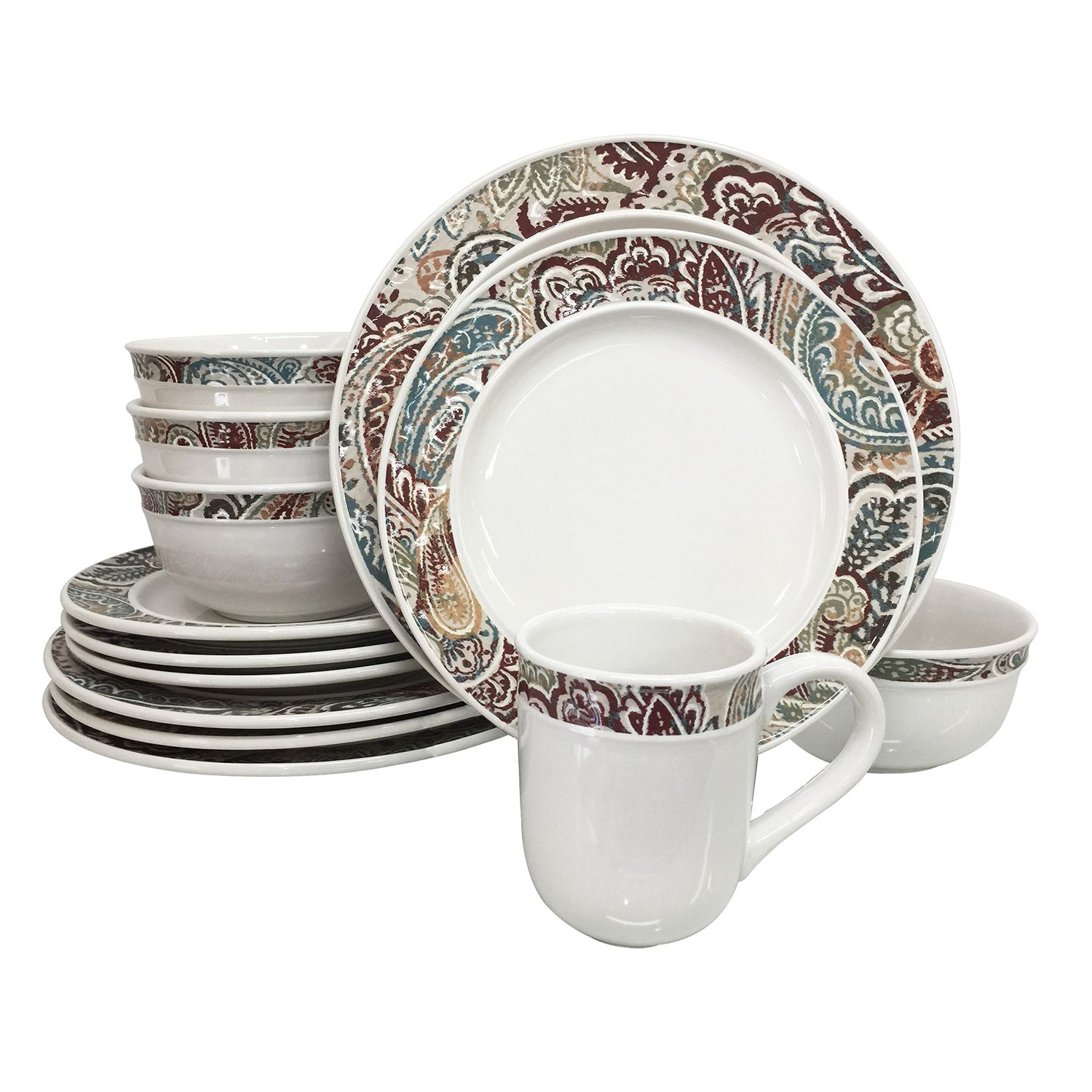 sc 1 st  Kohlu0027s & Food Network™ Paisley 16-pc. Dinnerware Set