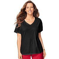 Plus Size Just My Size Solid V-Neck Tee