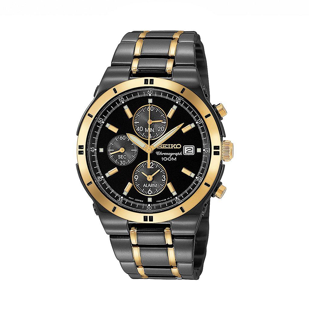 Seiko Men's Two Tone Stainless Steel Chronograph Watch - SNAA30