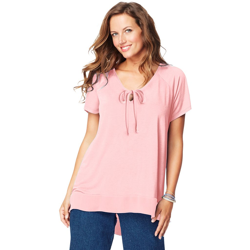 Plus Size Just My Size Chiffon-Trim Tunic