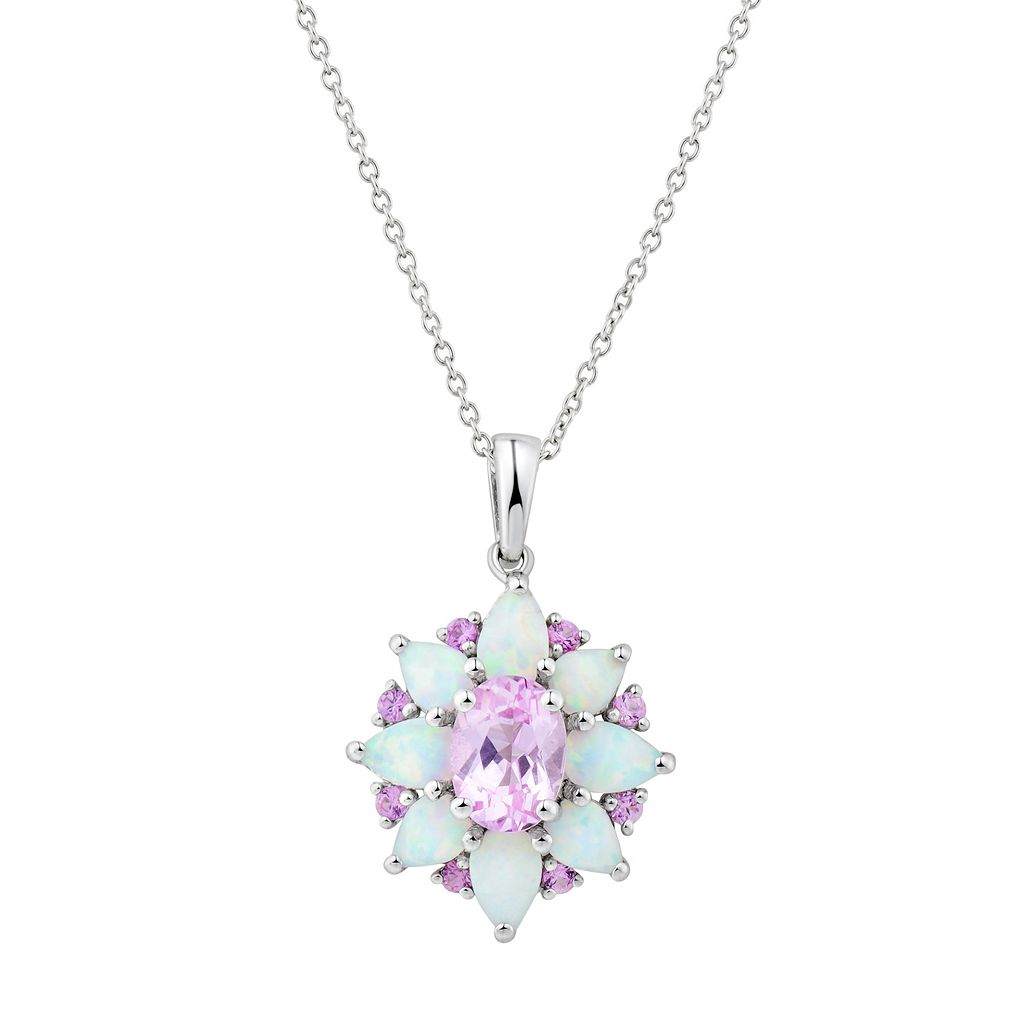 Sterling Silver Lab-Created Pink Sapphire & White Opal Flower Pendant Necklace