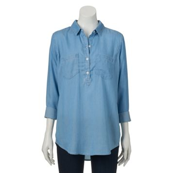 Juniors' SO® Chambray Tunic Henley