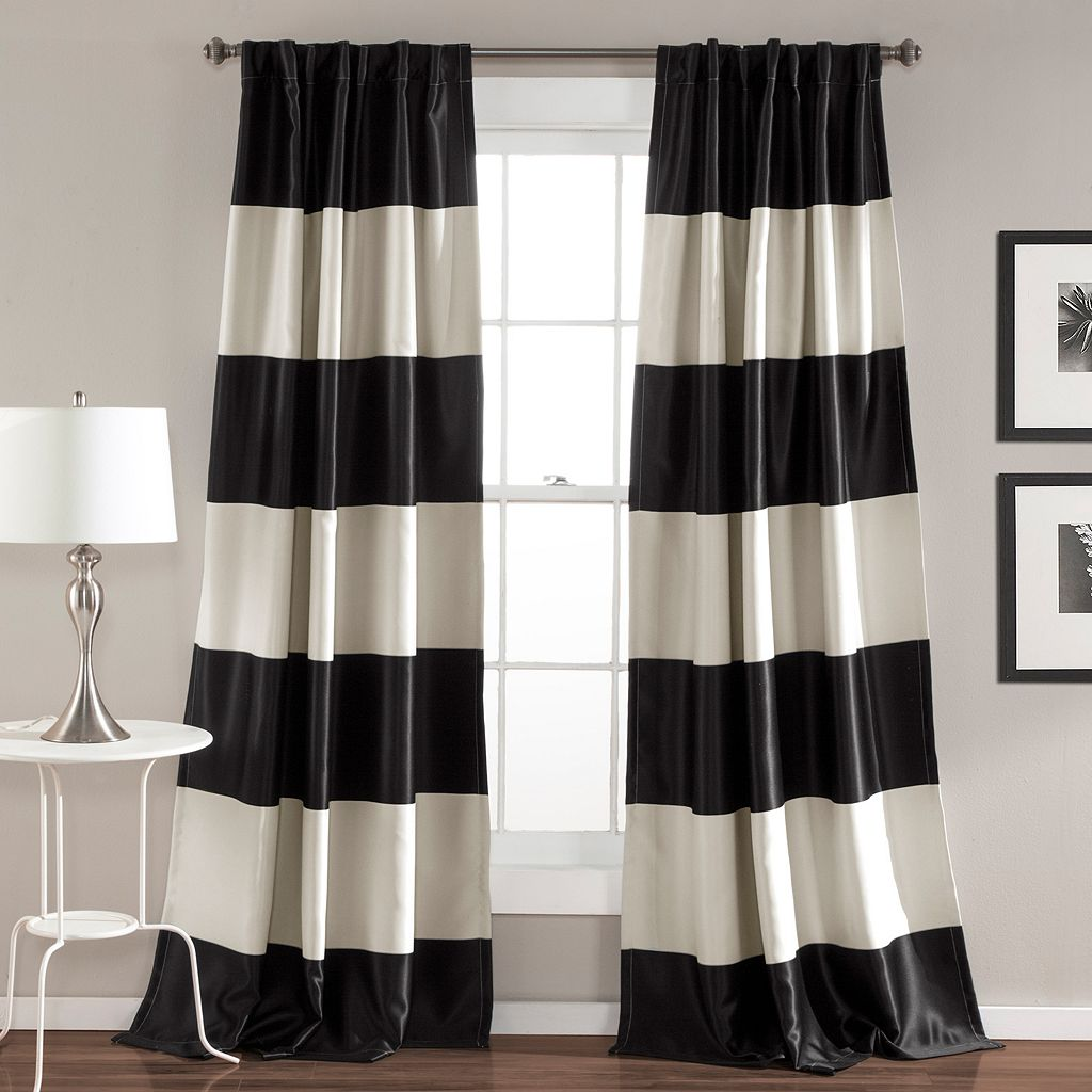 Lush Decor 2-pack Montego Wide Stripe Blackout Window Curtains