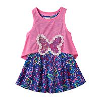 Toddler Girl Nannette Butterfly Dress & Detachable Slubbed Tank Top Popover Set