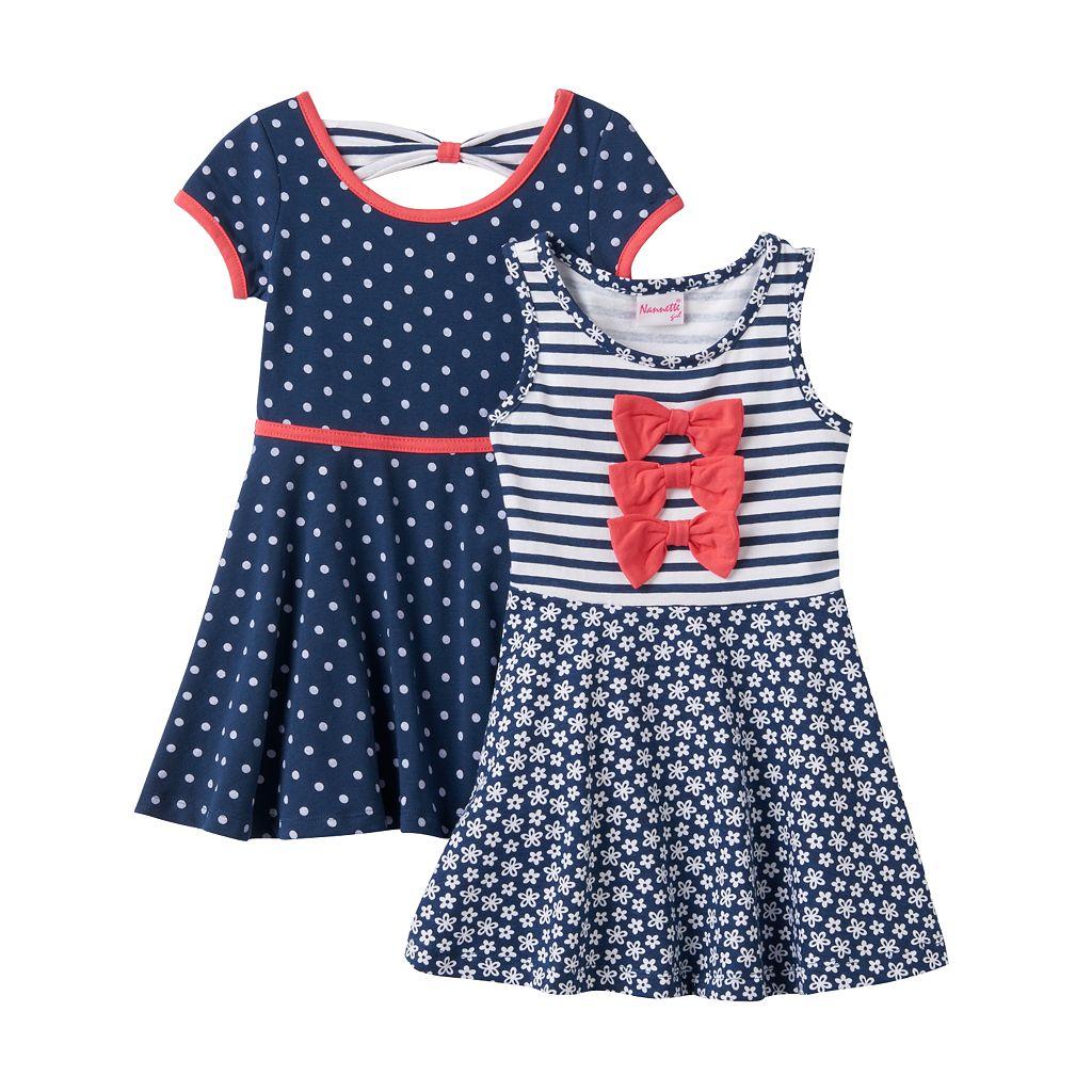 Toddler Girl Nannette Knit Polka-Dot & Striped Skater Dress Set