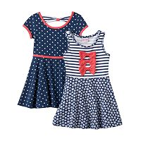 Toddler Girl Nannette Knit Polka-Dot & Striped Skater Dress Set