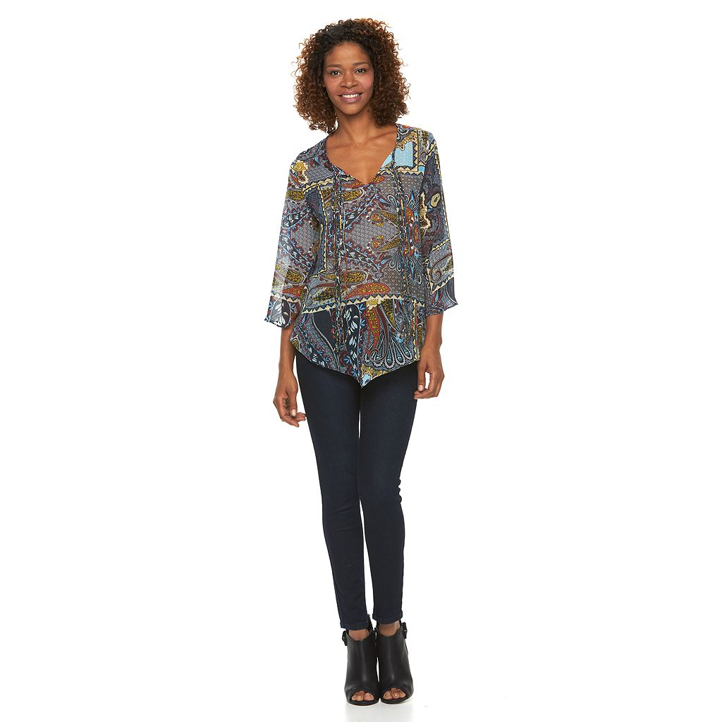 Women's World Unity Asymmetrical Hem Chiffon Top