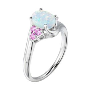 Sterling Silver Lab-Created White Opal & Pink Sapphire Bypass Ring