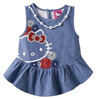 Girls 4-6x Hello Kitty® Embellished Chambray Tank Top
