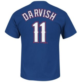 Men's Majestic Texas Rangers Yu Darvish Player Name and Number Tee