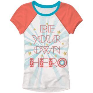 "Girls 4-6x Marvel Captain America ""Be Your Own Hero"" Tee"