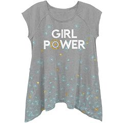 Girls 4-6x Marvel Captain America 'Girl Power' Shark Bite Hem Tee