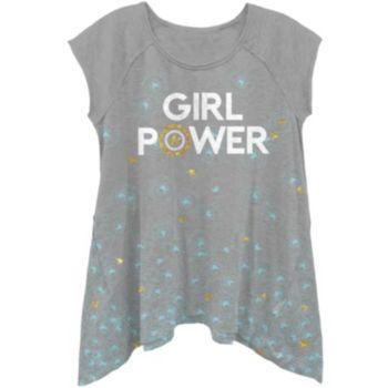"""Girls 4-6x Marvel Captain America """"Girl Power"""" Shark Bite Hem Tee"""