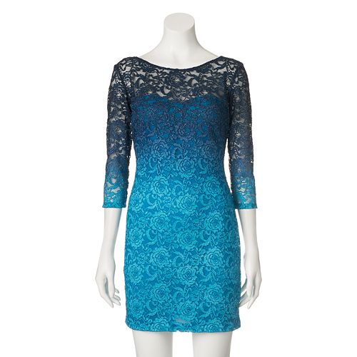 Juniors Jump Girl Glitter Lace Bodycon Dress