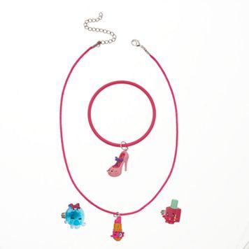 Girls Shopkins Lippy Lips, Polly Polish, Prommy & Bubbles Necklace, Bracelet & Rings Set
