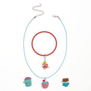 Girls Shopkins Cupcake Chic, Lolli Poppings, Cheeky Chocolate & Jelly B. Necklace, Bracelet & Rings Set