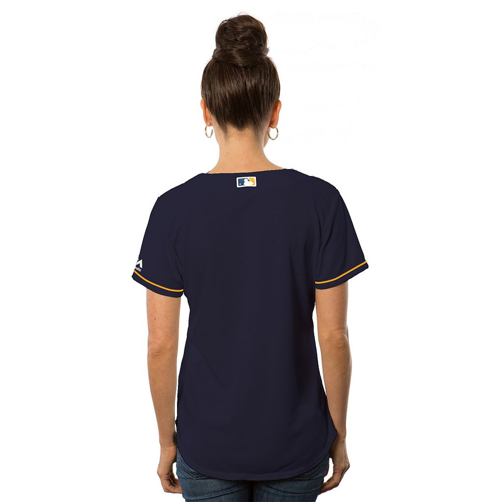 Women's Majestic Milwaukee Brewers Cool Base Replica Jersey
