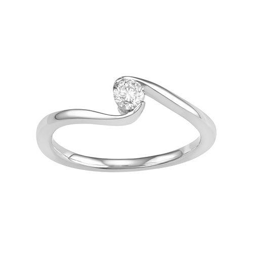 10k White Gold 1/10 Carat T.W. Diamond Bypass Promise Ring
