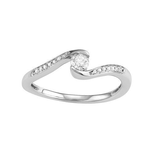 10k White Gold 1/4 Carat T.W. Diamond Bypass Promise Ring