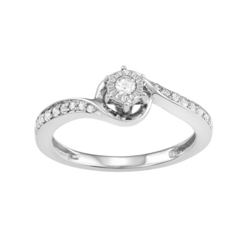 10k White Gold 1/4 Carat T.W. Diamond Swirl Promise Ring