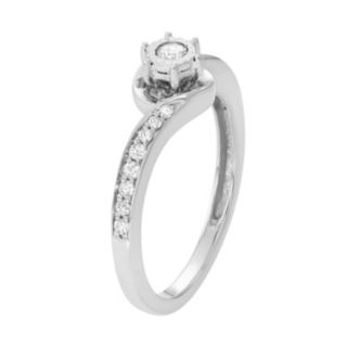 10k White Gold 1/4 Carat T.W. Diamond Swirl Promise Ring