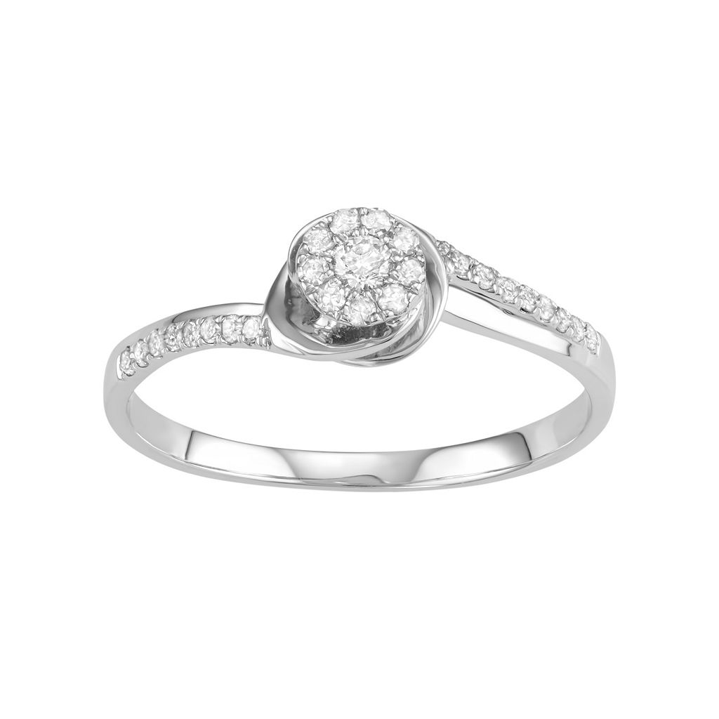 10k White Gold 1/5 Carat T.W. Diamond Cluster Engagement Ring