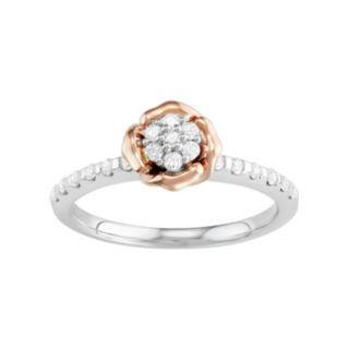 10k White Gold 1/4 Carat T.W. Diamond Flower Engagement Ring