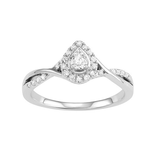 10k White Gold 1/3 Carat T.W. Diamond Teardrop Halo Engagement Ring
