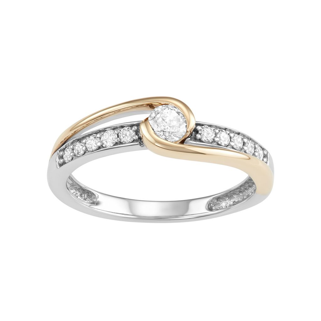 Two Tone 10k Gold 3/8 Carat T.W. Diamond Swirl Engagement Ring