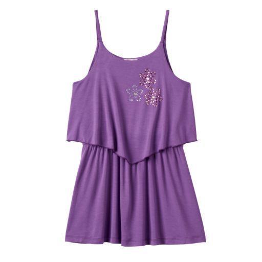 Toddler Girl Design 365 Rhinestone Solid Popover Dress