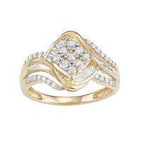 10k Gold 1/2 Carat T.W. Diamond Cluster Ring