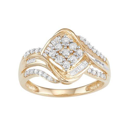10k Gold 1/2 Carat T.W. Diamond Cluster Ring