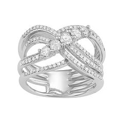 10k White Gold 1 Carat T.W. Diamond Woven Ring