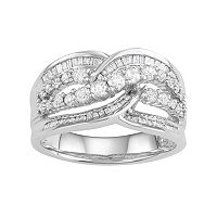 10k White Gold 1 Carat T.W. Diamond Swirl Ring