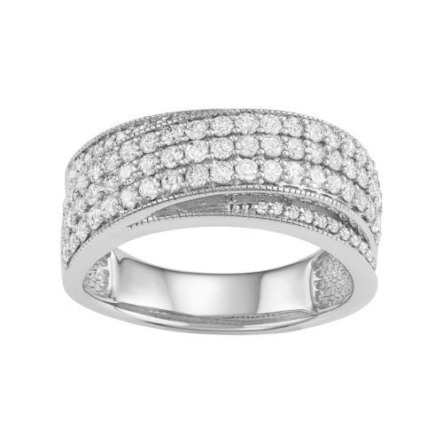 10k White Gold 1 Carat T.W. Diamond Multi Row Ring