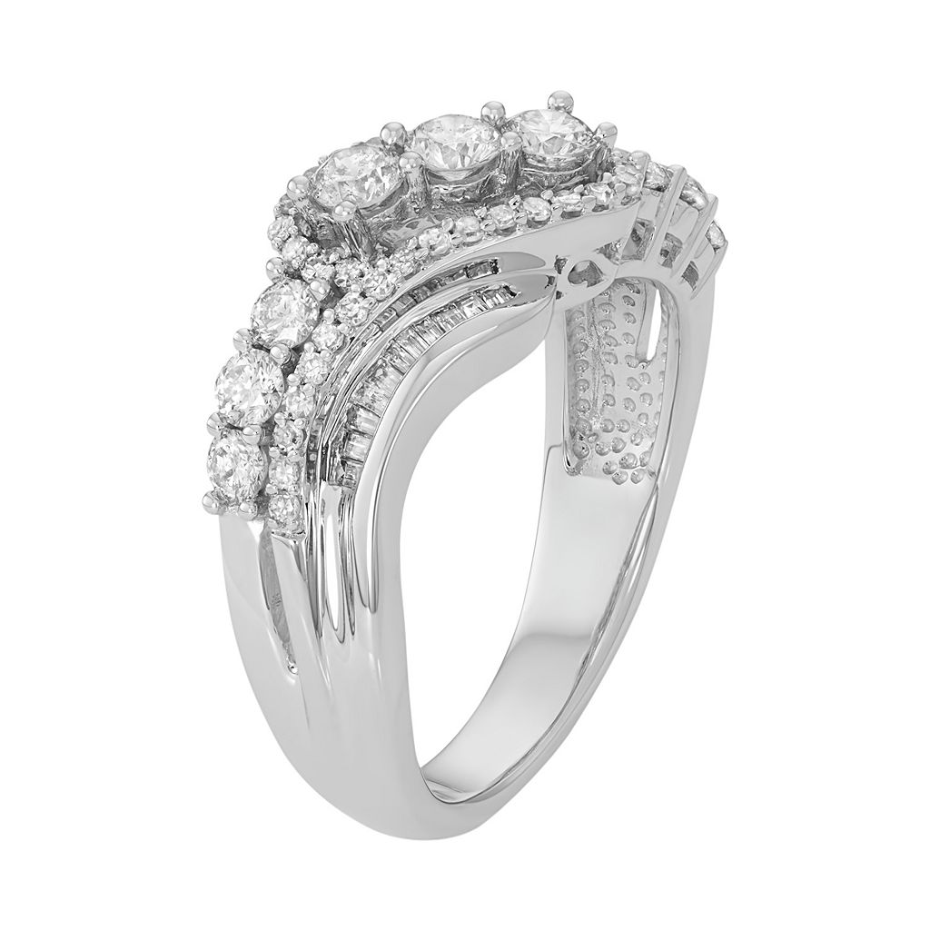 10k White Gold 1 Carat T.W. Diamond Swirl Multi Row Ring