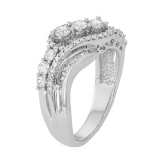 10k White Gold 1 Carat T.W. Diamond Swirl Multi Row Ring