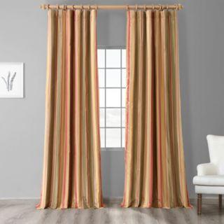 EFF 1-Panel Stripe Faux-Silk Taffeta Window Curtain