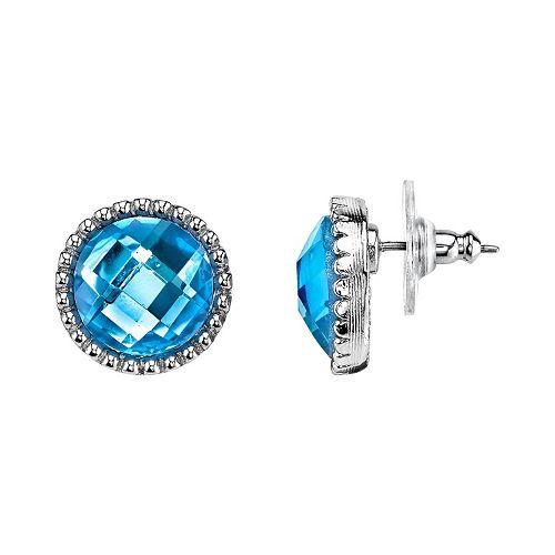 1928 Blue Faceted Nickel Free Stud Earrings