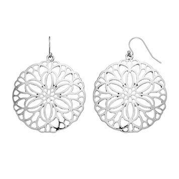 Flower Openwork Disc Drop Earrings