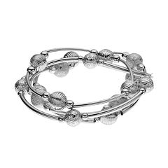Curved Bar Beaded Stretch Bracelet Set