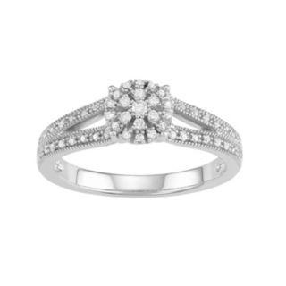 10k White Gold 1/5 Carat T.W. Diamond Cluster Halo Engagement Ring