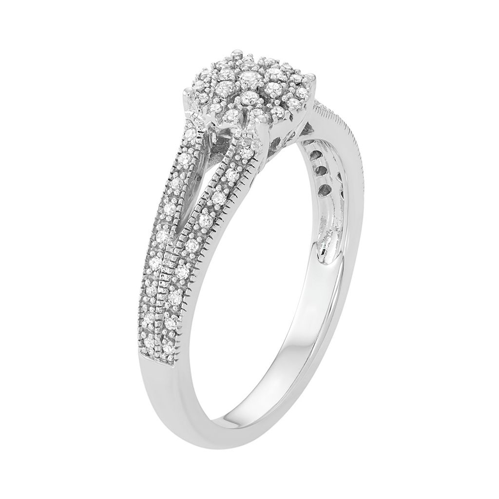 10k White Gold 1/5 Carat T.W. Diamond Cluster Halo Engagement Ring
