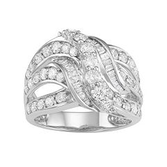10k White Gold 2 Carat T.W. Diamond Swirl Multi Row Ring