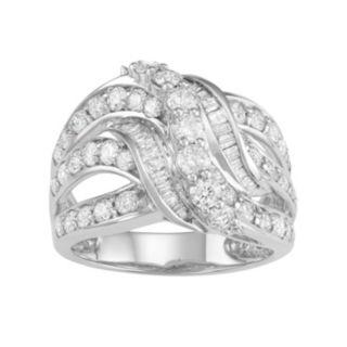 10k White Gold 2 Carat T.W. Diamond Swirl Multi Row Ring
