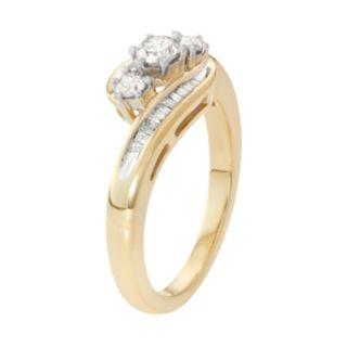 10k Gold 1/2 Carat T.W. Diamond 3-Stone Bypass Ring