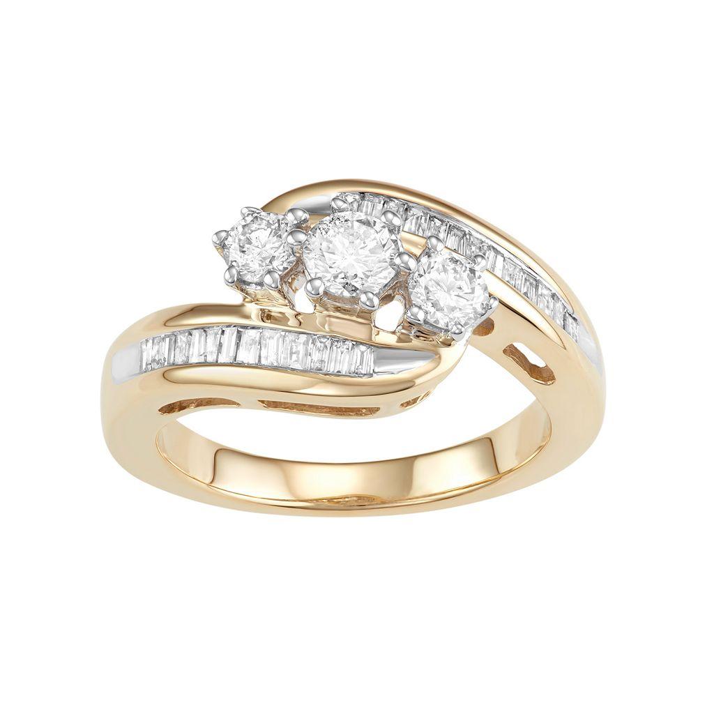 10k Gold 1 Carat T.W. Diamond 3-Stone Bypass Ring
