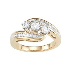 10k Gold 1 Carat T.W. Diamond 3-Stone Bypass Ring by