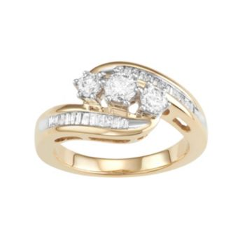 10k Gold 1 Carat T.W. Diamond 3-Stone Bypass Ring