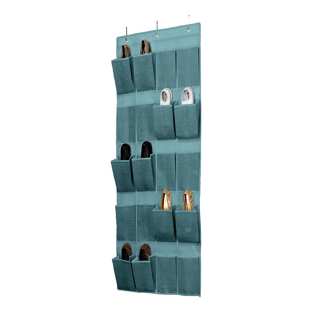 Simplify Dusty Blue 20-Pocket Over The Door Shoe Organizer